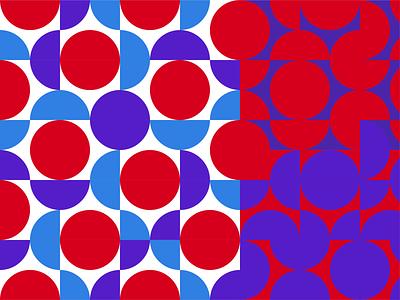 Pattern design for DreamKraft Entertainment, event manag brand vector illustration vibrant vivid geometric circles pattern blue red graphic design colourful brand design design branding