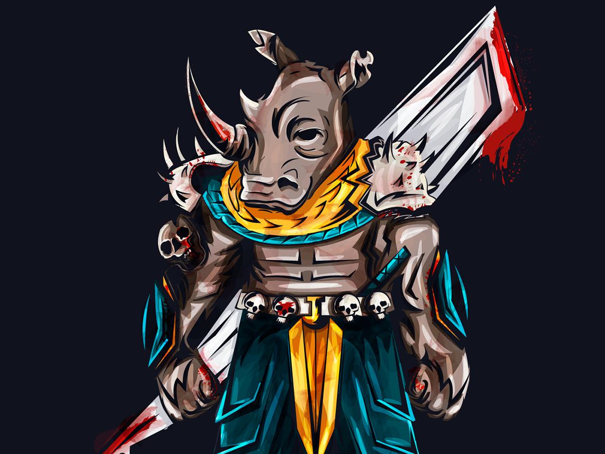 Rhino illustration vector illustration draft design art
