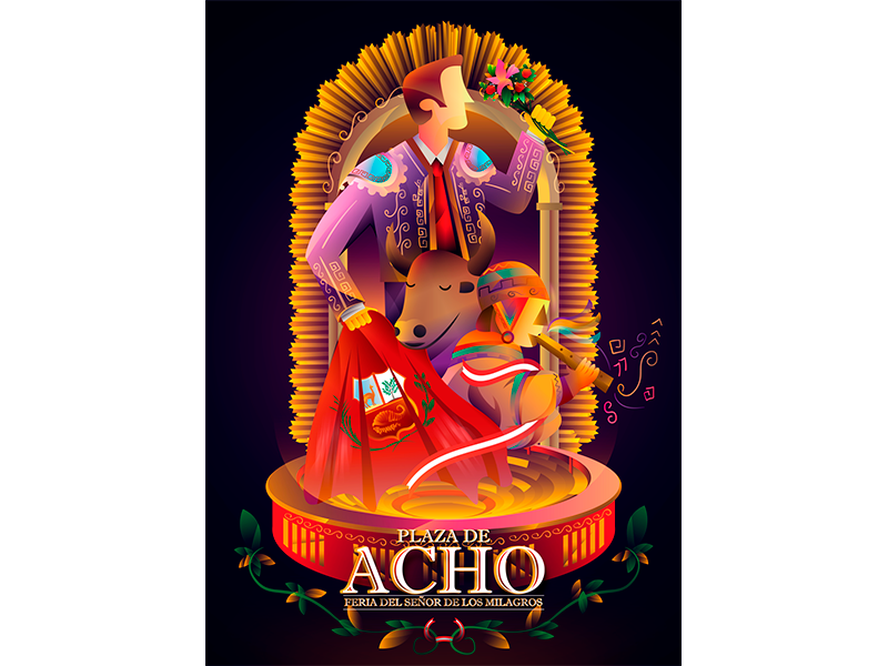 """Ilustración para el """"CONCURSO DE CARTEL ACHO 2018"""" degraded color vector illustration design art"""