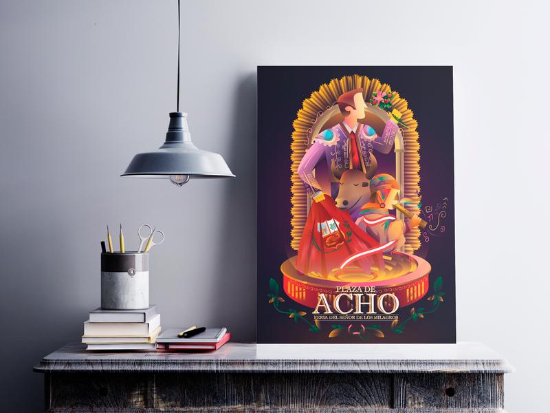 """Ilustración para el """"CONCURSO DE CARTEL ACHO 2018"""" degraded color draft vector illustration design art"""