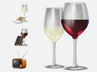 TV & Wine Icons