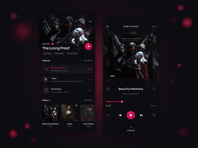 🎭 Music Streaming App Design Concept ui ux music app artist dark theme player playlist song mobile spotify play design audio streaming media sound concept ios