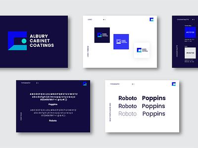 Albury Cabinet Coatings logotype roboto poppins nsw australia colour theme like logo mockup locals supporting locals branding illustration logo design typography mad marketing design