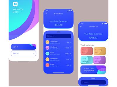 Finance App Design flat vector minimal app design ux ui