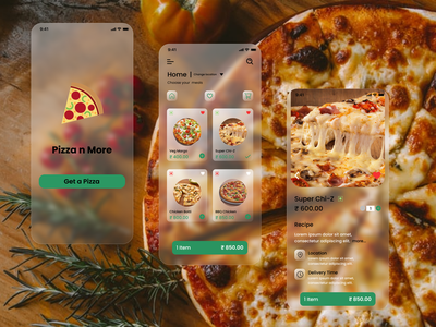 Pizza delivery app flat design app ux ui