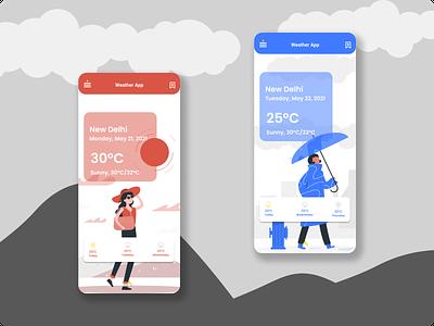 Weather app ui typography illustration design ux ui