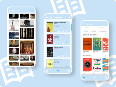 Book Reading App UI vector minimal app ux flat design ui