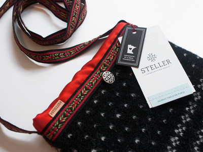 Steller Handcrafted Goods Tags purse leather tag foil stamping stitching scandinavian real minnesotans nordic minnesota graphic design logo graphic design clothing label clothing brand clothing branding