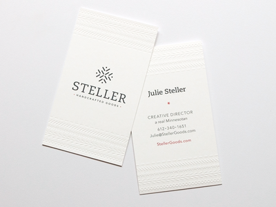 Steller Handcrafted Goods Business Cards handcrafted stitching scandinavian real minnesotans nordic minnesota graphic design logo graphic  design embossed debossed embossing clothing brand branding