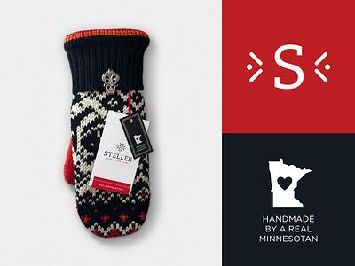 Steller Handcrafted Goods Brand stitching scandinavian nordic real minnesotan minnesota graphic design logo graphic  design foil stamping clothing brand branding