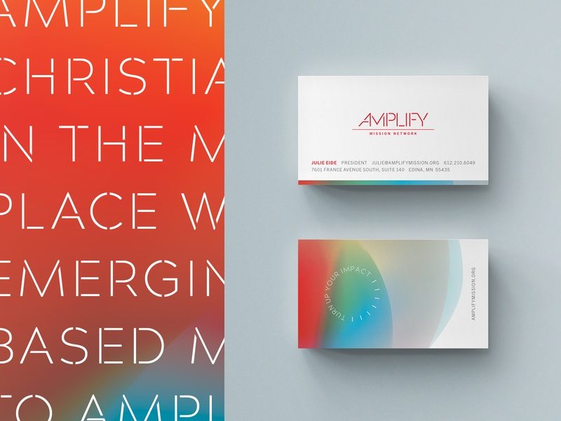 Amplify Business Cards christian designer christian business cards business card gradients gradient stencil nonprofits non profit non-profit nonprofit print logo branding