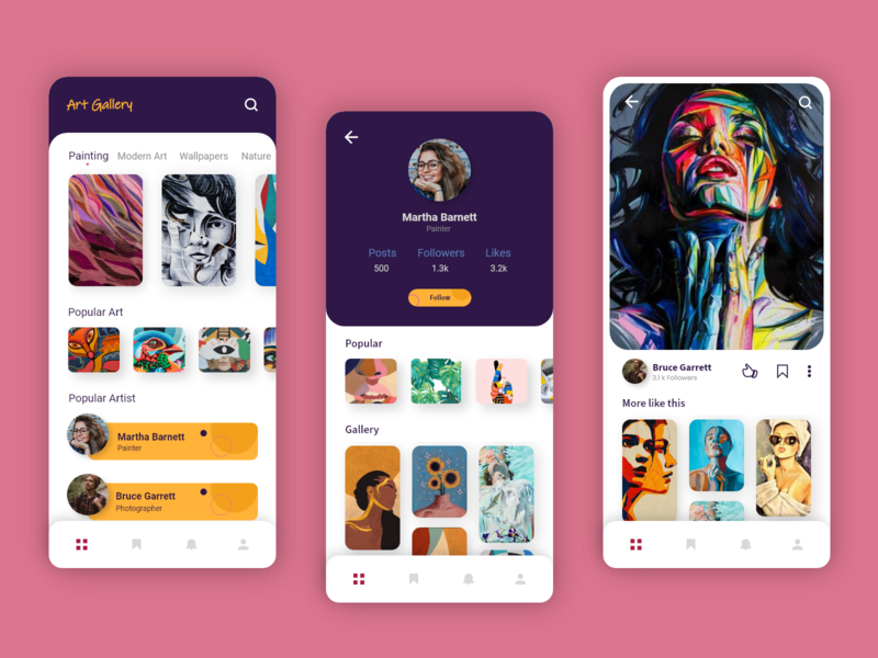 Art Gallery App interaction design illustration art vectorart artwork mobile app design mobile app uiux mobile ui art gallery ux desgin ui design adobexd