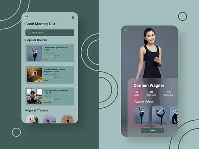 Yoga App grid layout meditation app yoga pose yoga app createwithadobexd ui design mobile app design ui ux design madewithadobexd vector art adobexd