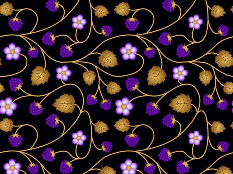 Golden Raspberries blue wallpaper vintage template style raspberry gold seamless pattern ornament leaf black graphic flower floral fabric design decor card background