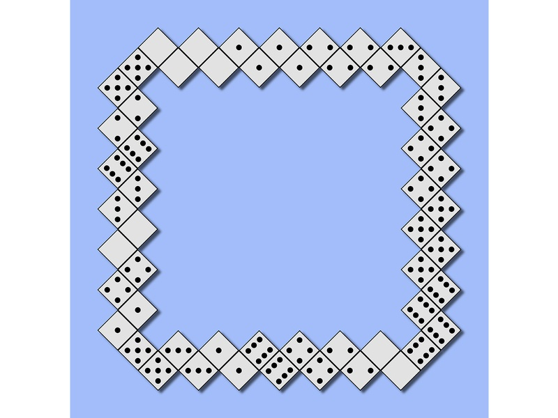 Domino frame ornament casino toy template layout pattern border puzzle frame fun gamble play idea game continuity concept chain block background domino