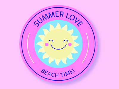 SUMMER LOVE time beach love summer icon designer design logo branding desain logo logo illustration design