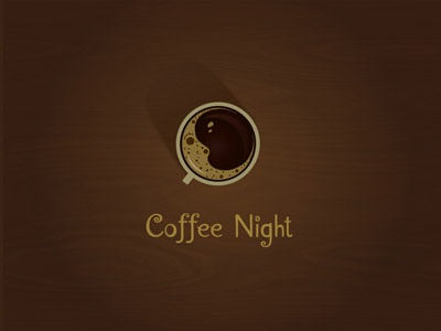 Coffee Night logo coffee night brown warm cafe moon
