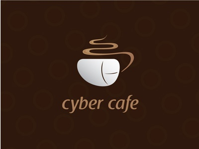 Cyber Cafe warm brown logo computer mouse coffee cafe cyber