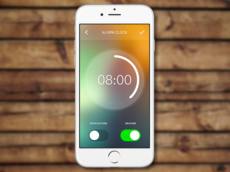 Alarm Clock clean simple switch ios circle color blur flat interface design