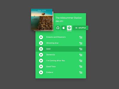 Album Card player spotify apple music card flat green ui design
