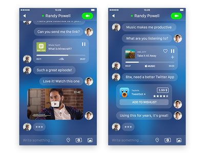 Actionable Inline Previews blue preview content flat design messenger interface