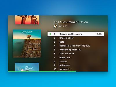 Apple TV Music App blue green clean blur ui design flat tv music apple