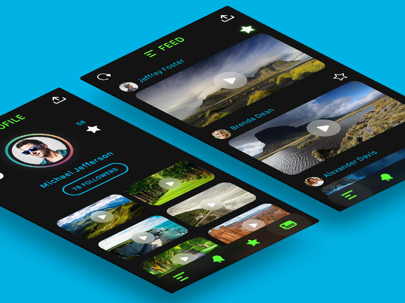 Video Sharing App android ios app social ui blue green black flat design sharing