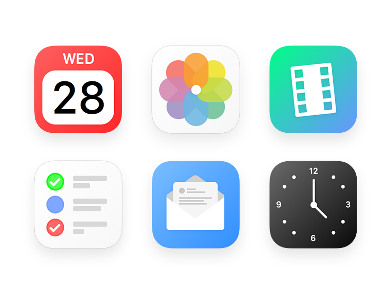 My take on iOS Icons mail reminders calendar photos apple design white red blue color icon ios