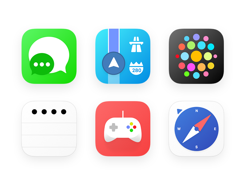 My take on iOS Icons Part 2 color simplicity watch safari maps message flat design icons apple