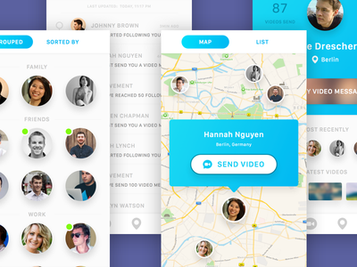 Video Message App profile map white blue ios android ui design apple location message video