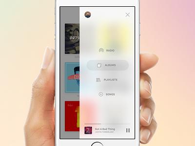Music App Sidebar menu interface white android ios design ui app blur music