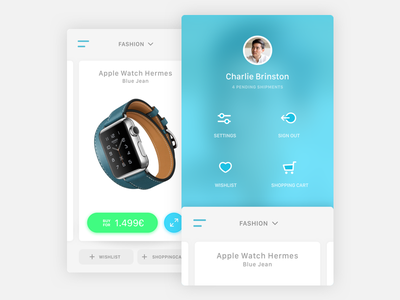 Shopping App and Menu green blue white android ios blur ui design icon sidebar menu app