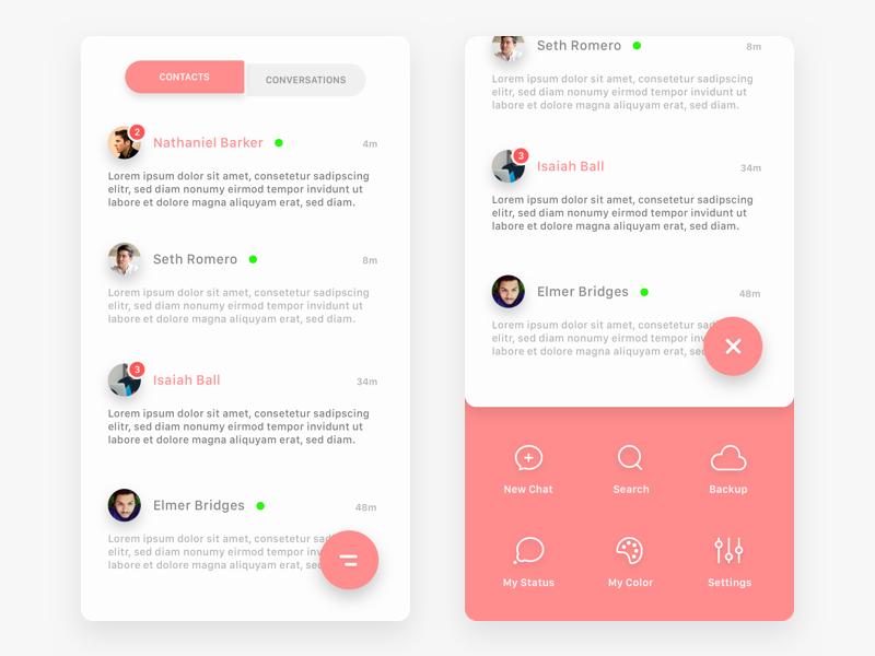 Slide-Up Menu fab chat android ios white red ui flat design app menu