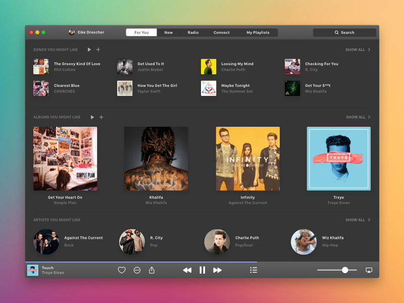 Apple Music - For You (Dark) color app mac osx white black cover album play dark music apple