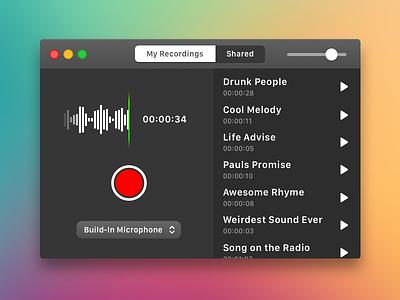 Voice Memo App for Mac design red black ui apple iphone mac ios osx app memo voice