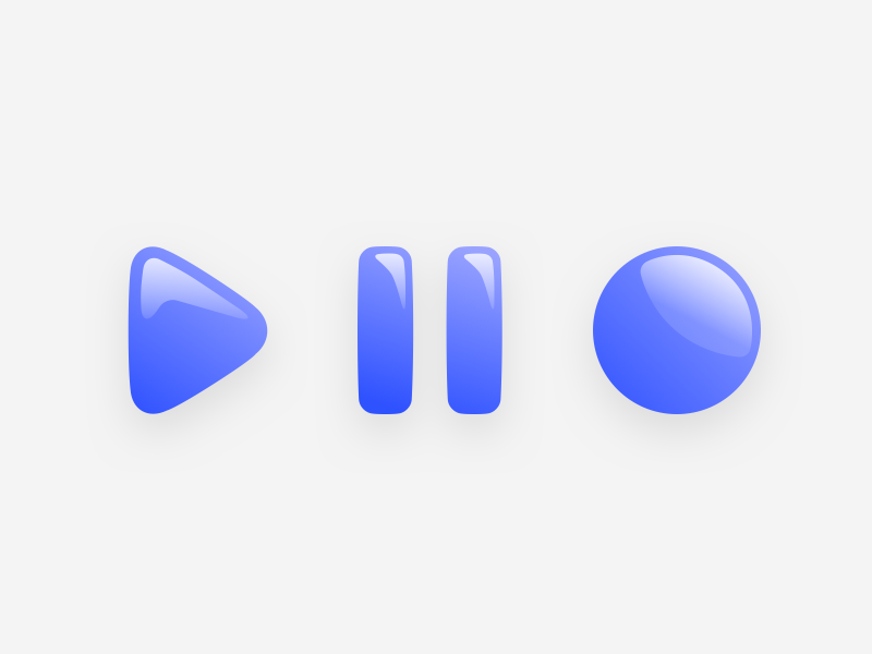 Shiny Buttons light icons design ui blue circle pause play icon button glow shiny