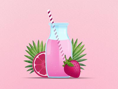Strawberry Juice graphic design art dribbble invite dribbble strawberry wallpaper ui animation branding web illustration vector design