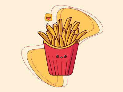 Cute Fries branding icon logo ui fast food wallpaper animation food illustration art dribbble illustration