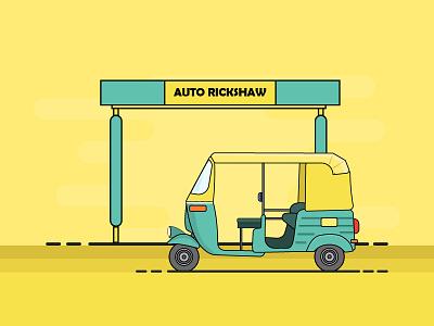Auto Rickshaw art wallpaper icon vector ui graphic design branding dribbble illustration rickshaw transportation