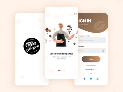 Coffee shop app UI design 3dillustration illustration ecommerce design ecommerce app 3d uiux design ux ui