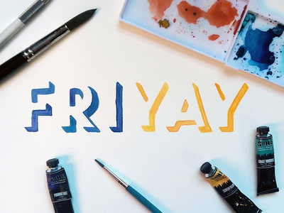 FriYAY illustration type custom type lettering typography watercolor handlettering