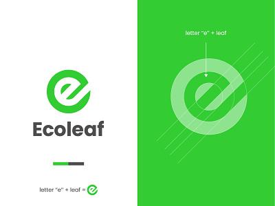 Ecoleaf vector minimalistic minimal leaf e letter e eco leaf leaf logo logo design logo design logodesign branding brand