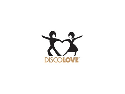 Discolove 70s disco dance heart logo negative space