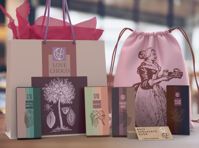 Chocolate brand - Love Choco branding dimension color adobe sweet choco bar nature tree background bag
