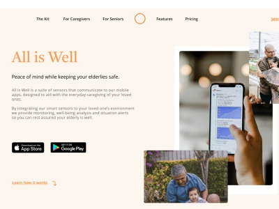 Wellness Startup — Landing Page hero section calm wellness landing branding ui design