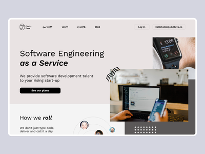 Software Engineering Startup technology team patterns trendy typography cta hero section hero fold services software company boutique design ui landing page ui landing