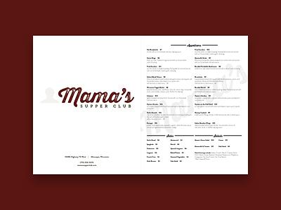 Menu Cover supper club branding restaurant menu
