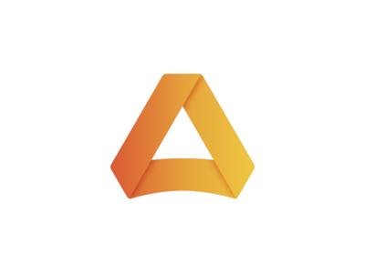Triangle Mark ribbon branding gradient orange triangle logo