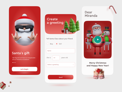 Mobile Christmas App For Santa's gift 3d app interface clean дед мороз рождество новый год happy holidays concept design ui gift santa claus merrychristmas merry xmas happy new year christmas card christmas tree christmas new year