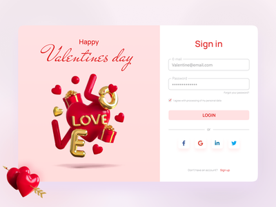 Happy valentine's day | Sign in form log out 3d ui registration form love figma log in sing up sing in valentine day website webdesign 3d uxui uidesign desktop interface design concept ui